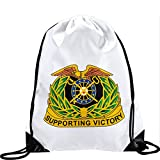 Large Drawstring Bag with US Army Quartermaster Corps, regimental insignia - Long lasting vibrant image