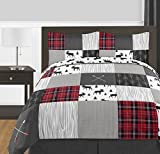 Sweet Jojo Designs Grey, Black and Red Woodland Plaid and Arrow Rustic Patch Boy Full/Queen Kid Teen Bedding Comforter Set by 3 Pieces-Flannel Moose Gray