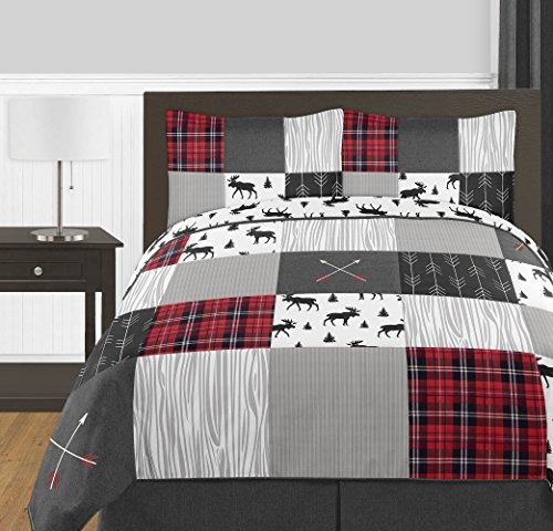 Sweet Jojo Designs Grey, Black and Red Woodland Plaid and Arrow Rustic Patch Boy Full/Queen Kid Teen Bedding Comforter Set 3 Pieces - Flannel Moose Gray