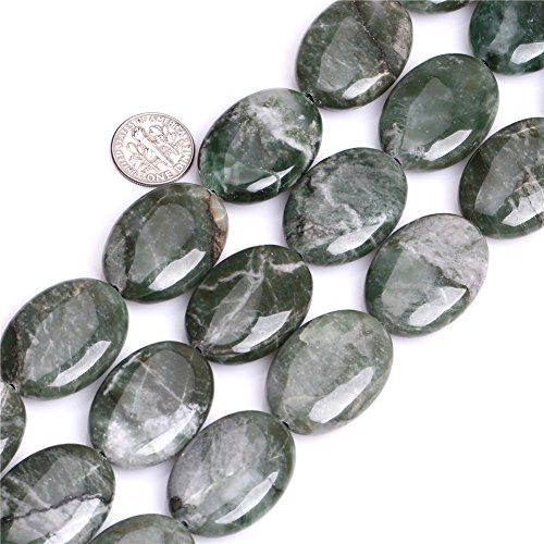 African Jade Beads for Jewelry Making Natural Gemstone Semi Precious 22x30mm Oval Green 15