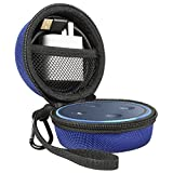 Echo Dot Case, Travel Portable Carrying Protective Case With Screw-Lock Carabiner-Nylon/PU, Fits Phone Headset, Charger and USB Cable (BLUE)