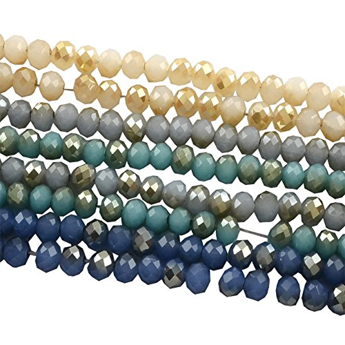 Faceted Strand - NBEADS 10 Strands Half Plated Imitation Jade Faceted Abacus Glass Bead, Mixed Color, 4x3mm, Hole: 1mm; about 150pcs/strand