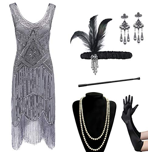 Coucoland Womens 1920s Flapper Sequin Beads Dress with Roaring 20s Gatsby Accessories Set for Party (Black & Gray, S) -