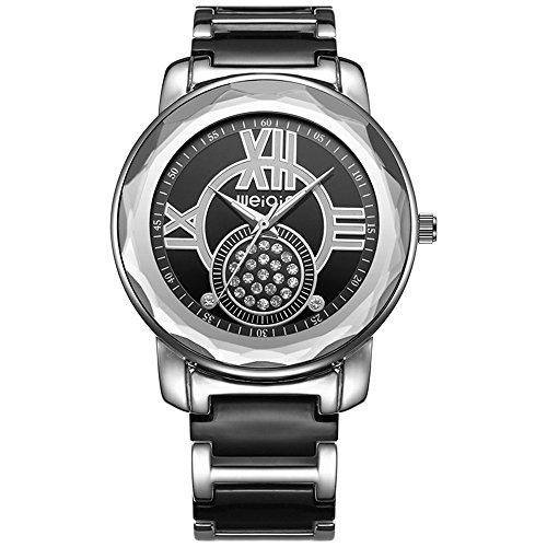 AStarsport Women Luxury Elegant Roma Words Big case Rhinestone Shell dial Bangle Bracelet Imitation Ceramics Watches Fashion Lady Dress Watch Analog Wristwatch All Black