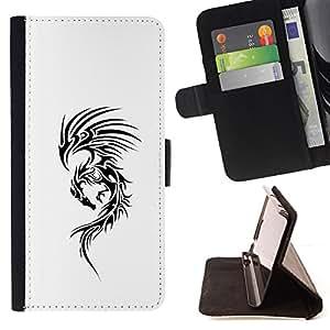 INK TATTOO BLACK DRAGON WHITE DECAL INK/ Personalizada del estilo del dise???¡Ào de la PU Caso de encargo del cuero del tir????n del soporte d - Cao - For Samsung Galaxy Note 3 III