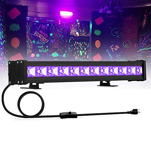24W UV Black Light, 12LED Black Light Bar, Glow in The Dark Party Supplies for Disco Stage Lighting, Halloween, Body Paint, Fluorescent Poster, Birthday Wedding Party -