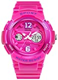 Fanmis Sport Watch Analog/Digital Water Resist Dual Time Alarm Led Girl's Wristwatch Dark Pink