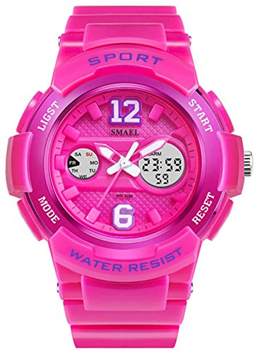 Fanmis Sports Watches Analog Digital Waterproof Dual Time Alarm Stopwatch Led Girl's Women's watch Pink ()
