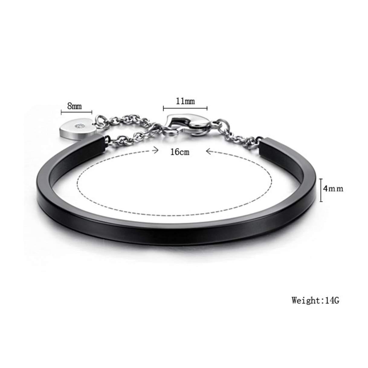 CHARMFAME Stainless Steel Black Bangle Heart Lock Cuff Bracelet Fashion Jewelry for Women /& Girls