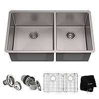 Kraus Standart PRO Fregadero de cocina de acero inoxidable de doble tazón, calibre 16, 16 pulgadas, montaje inferior, 60/40, KHU103-33
