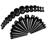BodyJ4You 28PCS Stretching Kit Surgical Steel Tapers and Plugs Black 12G-0G Ear Gauge Expanders Set