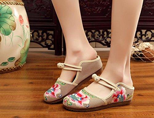 DESY Gestickte Schuhe, Sehnensohle, ethnischer Stil, weiblicher Flip Flop, Mode, bequeme, lässige Sandalen , pink , 39