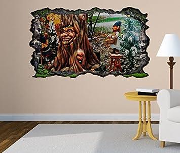 3D Wandtattoo Märchen Baum Zwerg Wald Kinderzimmer Bild Selbstklebend  Wandbild Sticker Wohnzimmer Wand Aufkleber 11H045,