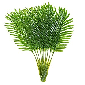 Artificial Palm Leaves with Stem and Tropical Philodendron Monstera Fronds Party Decorations Faux Palm Tree Plant Leaf Fake Imitation Ferns Branches Home Kitchen Plastic Decor 20 Pieces AF49 4
