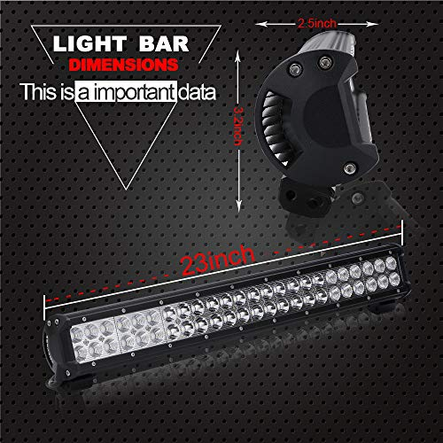 DOT Approved 23 Inch 144W Led Light Bar Offroad On Grill Windshield + 2PCS 4 Inch 18W Cube Pods Driving Fog Lights W/Rocker Switch Wiring Harness For ATV Golf Cart Truck Jeep Wrangler Polaris RZR