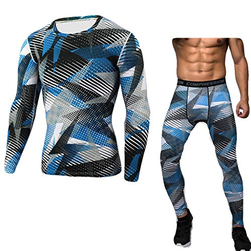 Men's Printing Sports Suit Casual Tight Bodybuilding Fast Drying Tops Pants Compression Gym Trainning Shirt Beautyfine Blue