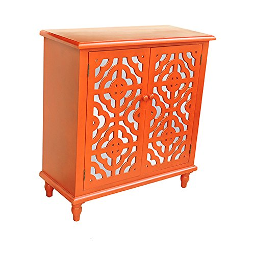Crestview Collection Tangerine Mdf and Mirrored 2 Door Cabinet, Orange