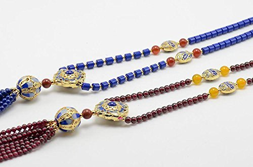 Bouquet Sweater (Batch_ natural garnet color Blue _lapis_lazuli_ore-grade_ gold beads _Conne_bouquet_ sweater chain tassel necklace Pendant)