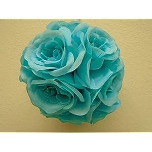 "2 Kissing Balls Rose 6"" Artificial Silk Flowers GB329 16"