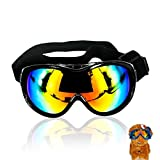 SHENNOSI Dog Sunglasses Ski glass UV Protective Lenses Eye Wear Protection with Adjustable Strap Waterproof (Black)