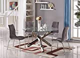 Furniturebox UK Vogue Large Round Circular Chrome Metal Clear Glass 6 Seater Dining TABLE ONLY
