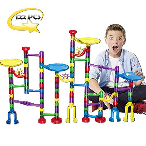 Mercury Nation Marble Run Set for Kids 122 Pcs Marble Game STEM Educational Construction, Learning Toy, Building Blocks for 4 5 6 7 + Kids Birthday, Easter Gifts -