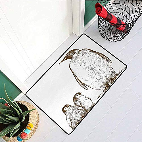 GloriaJohnson Sea Animals Commercial Grade Entrance mat Engraving Antique Illustration King Penguin and Baby Penguins Nestling Nature for entrances garages patios W23.6 x L35.4 Inch Olive Green