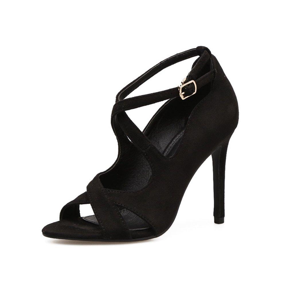 Inconnu Femmes Aiguille Escaepins Talons Hauts Aiguille Ouvert Chaussures Noir Lanières Élégant Stiletto Sandales Femmes Noir cda5faa - conorscully.space