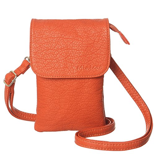 MINICAT Roomy Pockets Series Small Crossbody Bags Cell Phone Purse Wallet For Women(Orange)