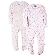 2-Pack Flowers Baby Girls' Footed Pajama - 100% Cotton Zip Front Sleep and Play Sleeper 6M