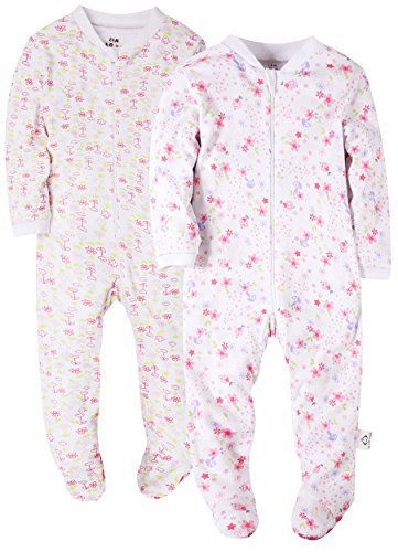 2-Pack Flowers Baby Girls' Footed Pajama - 100% Cotton Zip Front Sleep and Play Sleeper 3M by Marquebaby