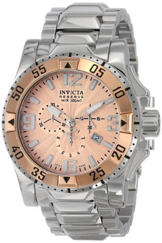 Invicta Men's 10890 Excursion Reserve Chronograph Rose Gold Tone Textured Dial Stainless Steel Watch - Excursion Chronograph