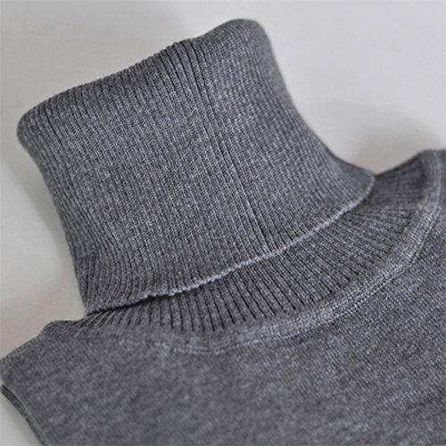 Collo Grigio alto Romacci Turtleneck Solido Donna Maglione Maniche Pullover Dolcevita Sweater Lunghe Basic 71zvT7