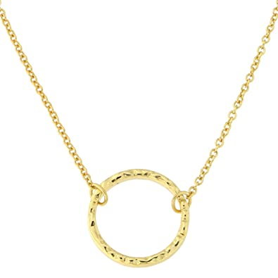 Amazon yellow gold tone sterling silver hammered open circle yellow gold tone sterling silver hammered open circle pendant necklace aloadofball Images
