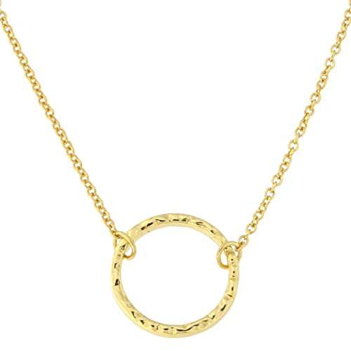 Amazon yellow gold tone sterling silver hammered open circle yellow gold tone sterling silver hammered open circle pendant necklace aloadofball Choice Image