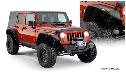 Bushwacker 10918-07 Jeep Flat Style Fender Flare - Set of 4 ()