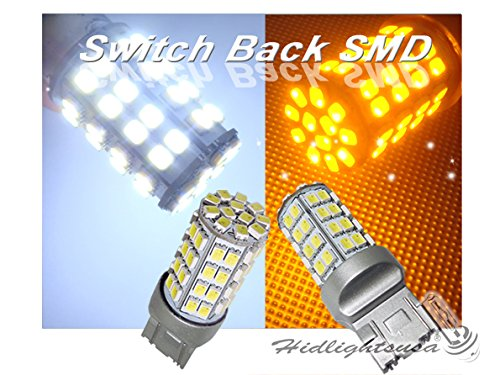 Splendid Autos 60-SMD 3157 Dual-Color Switchback LED Bulbs (60-White 60-Amber) + Load Resistor