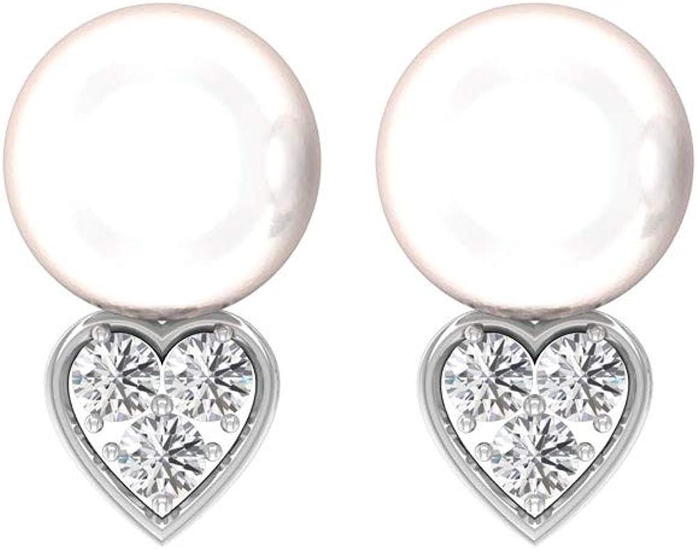 Pendientes de gota de perlas de 12 quilates, con certificado IGI de 0,35 quilates, con forma de corazón, IJ-SI, pendientes de piedras preciosas de diamante, tornillo hacia atrás