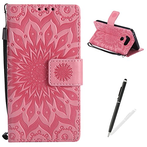 LG G5 Wallet Case Premium Soft PU Leather Cover with Card Slots and Wrist Strap Stand Function MAGQI Embossed Mandala Cover for LG G5 + Black Stylus - Pink (Premium Case Leather Pink)
