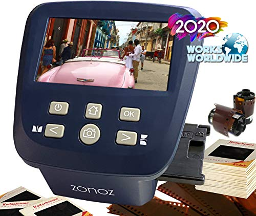 zonoz FS-Five Digital Film & Slide Scanner – Converts 35mm, 126, 110, Super 8 & 8mm Film Negatives & Slides to JPEG – Includes Large Bright 5-Inch LCD, Easy-Load Film Inserts Adapters