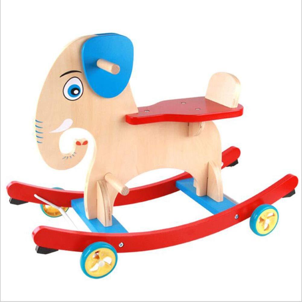 Toy rocking cradles Schaukelstuhl Elefant für Kinder, massives Holz, Griff zweihändig, Equilibrierkraft, Kinder von 1-3 Jahren, Spielzeugschaukel für Kinder/Mädchen Schaukelstuhl/Tierspaziergang