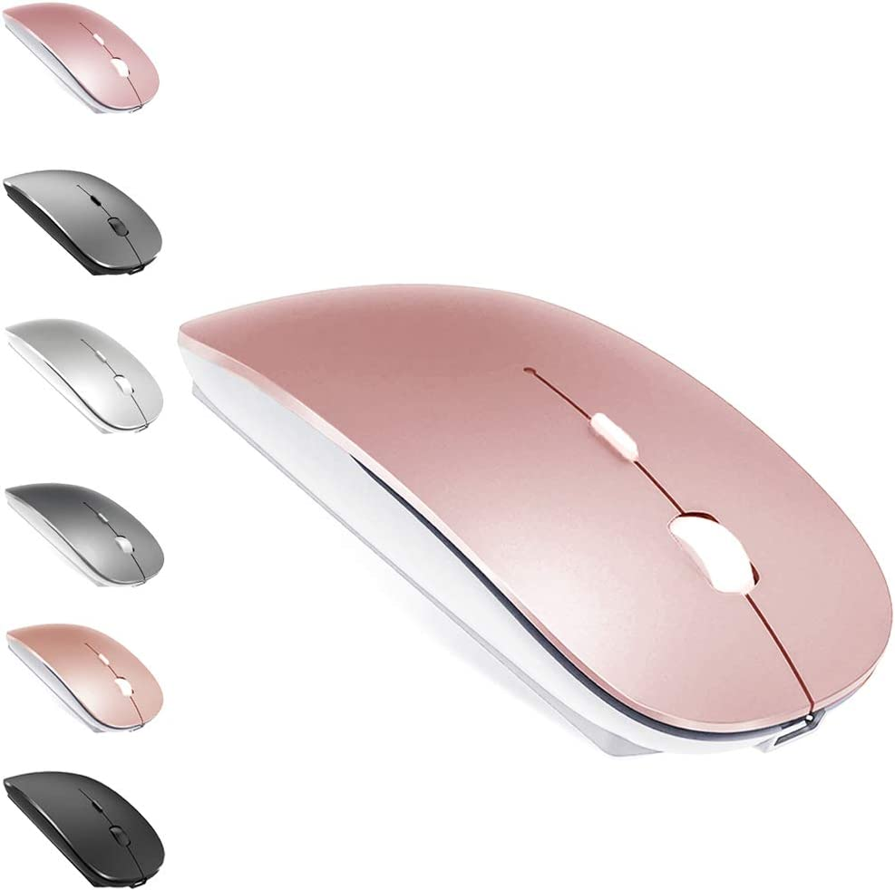 Rechargeable Bluetooth Mouse for MacBook Pro/MacBook Air/iMac/iPad/Windows/Laptop,Wireless Mouse for MacBook Air/Pro/iPad/Laptop (Pink)