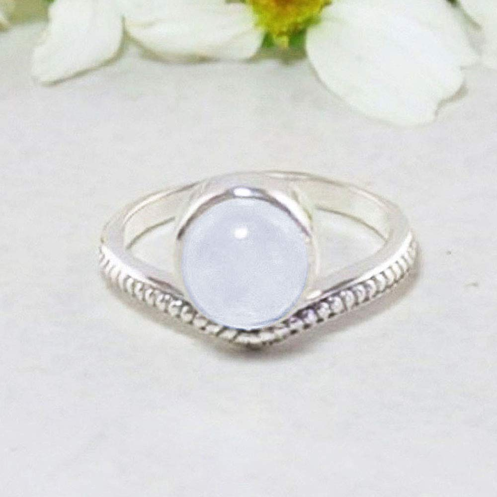 Exquisite Handcrafted Ring in Solid Silver Size 7 Sivalya ENLIGHTENED Natural Rainbow Moonstone Ring in 925 Sterling Silver
