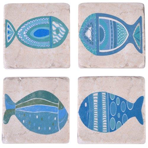 NIKKY HOME Beach Style Resin Absorbent Coasters for Drinks, 4