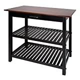 Large Kitchen Island Casual Home Kitchen Island with Solid Wood Top & Shelf, Black Base, Walnut Top