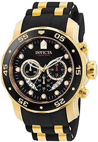 Invicta Men's Pro Diver Scuba 48mm Gold Tone Stainless Steel Quartz Watch with Black Silicone Strap, Black (Model: 6981) WeeklyReviewer