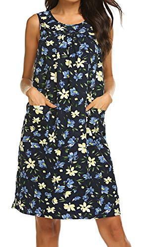 Sleeveless Shift Dress Sundress Floral Print House Dresses for Women with Pockets (L, Floral Navy Blue)