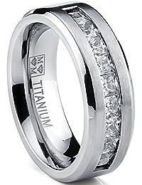 Titanium Men's Wedding Band Engagement Ring with 9 large Princess Cut Cubic Zirconia