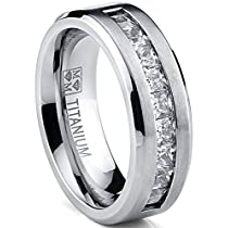 Titanium Mens Wedding Band Engagement Ring with 9 large Princess Cut Cubic Zirconia