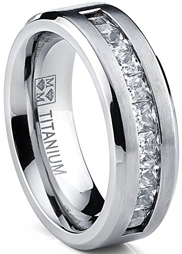 Metal Masters Co. Titanium Men's Wedding Band Engagement Ring with 9 Large Princess Cut Cubic Zirconia Size 6.5